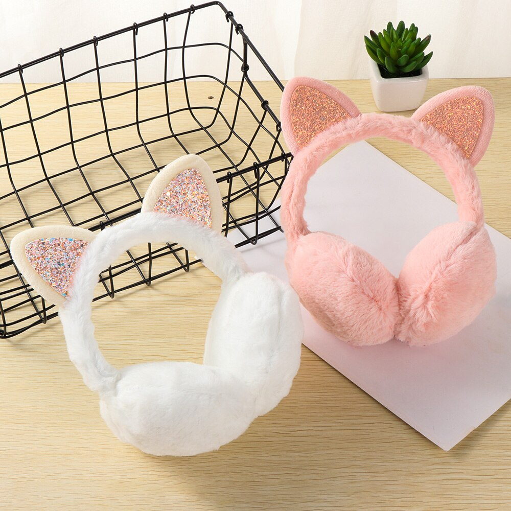 1PC Women Winter Warm Cat Ears Earmuffs Girls Cold Weather Ear Warmers Fashion Cute Fluffy Earflap Sequin Outdoor Earmuff