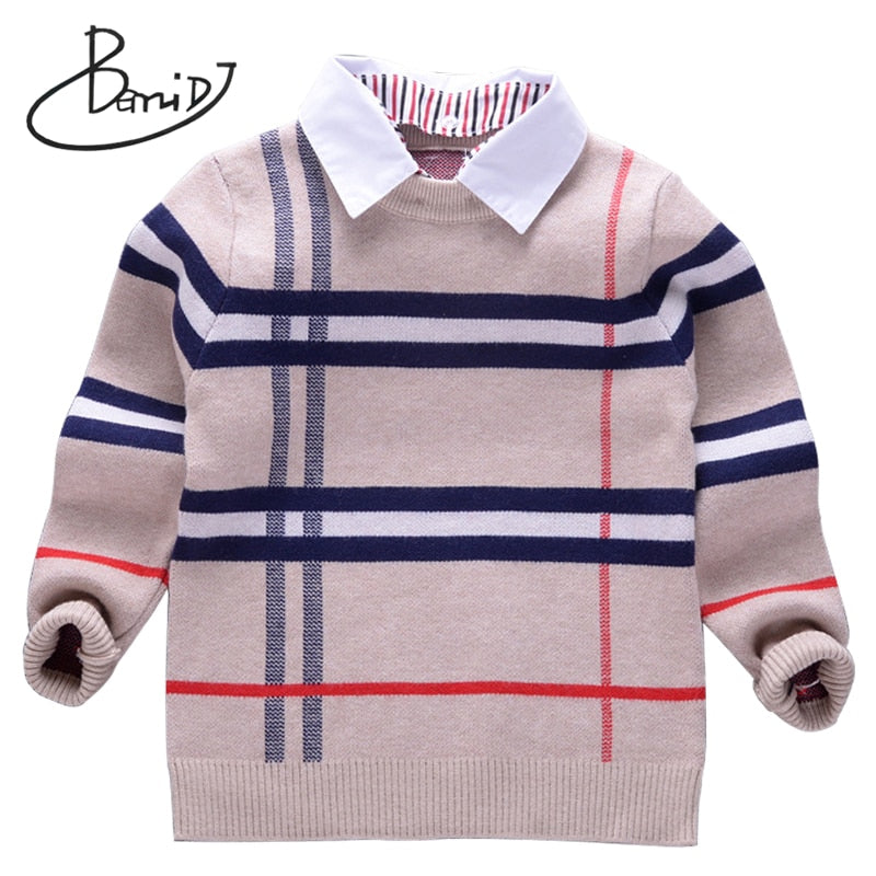 2018 new Autumn Boys Sweater Plaid Children Knitwear Boys Cotton Pullover Sweater Kids Fashion Outerwear T-shirt 2-8T clothes