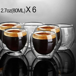 New 6Pcs 80ml 2.7oz Glass Double Walled Heat Insulated Tumbler Espresso Tea Cup coffee mug tazas de ceramica creativas