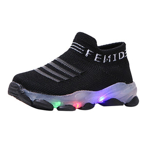 LED Light Children's Shoes Girls Boys Letters Printed Mesh Led Luminous Socks Sport Run Sneakers Casual Outdoor Running Sneakers