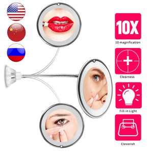 LED Mirror Makeup Mirror with LED Light vanity mirror10X Miroir зеркало для макияжа espejo de maquillaje spiegelVIP DROPSHIPPING