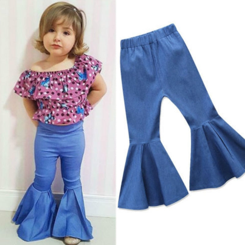 Pudcoco Toddler Kids Baby Girl Denim Flare Long Pants Bell Bottoms Fashion Children Girls Trousers 1-6Y