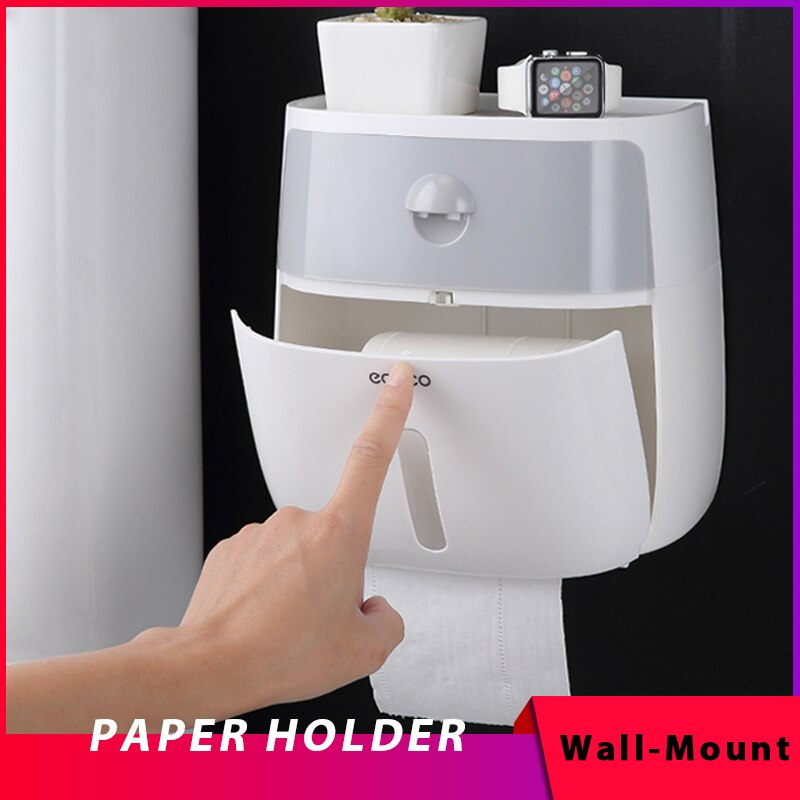 Waterproof Wall Mount Toilet Paper Holder Shelf for Toilet Paper Tray Roll Paper Towel Holder CaseTube Storage Box Tray