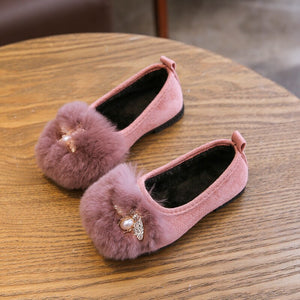 Winter Girls Slip on Shoes Faux Fur Plush Loafers Rhinestone Girls Shoes Kids Flats Big Girl Shoes Warm Boat Shoes For Children