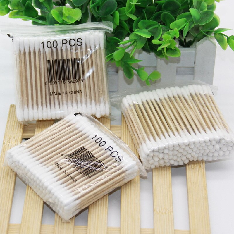 High quality double head stick advanced sanitary cosmetic stick one time cotton swab 100 thread cotton swab cotton ball stick
