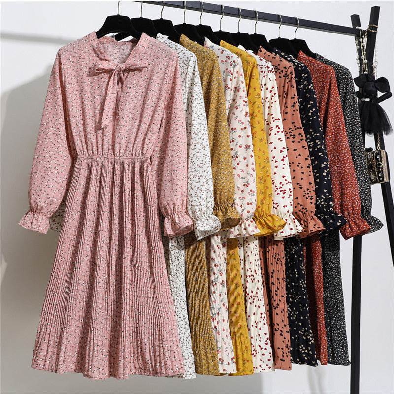 New Spring summer Dress Women Bow Floral Long Sleeve Polka Elastic Waist Leopard Pleated Collar Vestidos Robe Femme clothes 2020