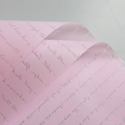 20pcs Plastic Waterproof Flower Wrapping Paper English Letters Flower Packaging Craft Papers Gift Wrapping Supply Mother's Day