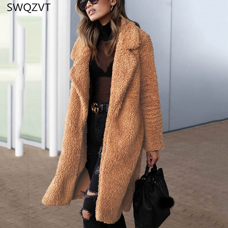 Turn-down Collar Women Jacket Casual Long Sleeve Warm Fur Women Jacket Coat Thick Ladies Loose Clothes Women Long Coat Outwear