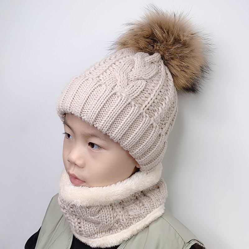 Children kids Winter Hat and scarf Set Real Raccoon Fur Pompom Hat Fleece Liner Pom Pom Beanie Baby Girls Boys Cap