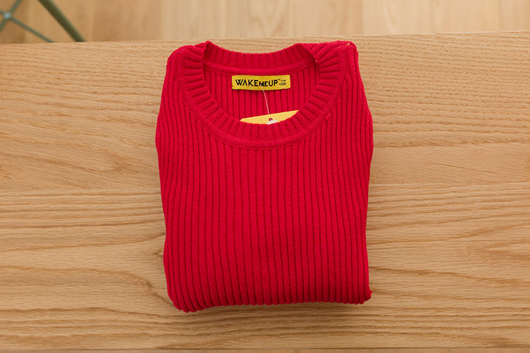 O Neck Kids Children Clothes Girls Fitted Ribbed Sweater Baby for Winter Autumn Soft Full Sleeve Toddler Fashion Boys Sweaters