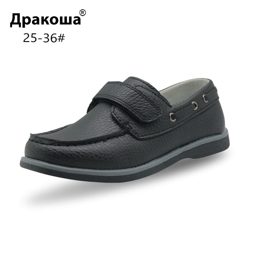 Apakowa Boy's Classic Casual Shoes PU Leather Loafers Moccasins Solid Anti-slip Kids Children's Shoes for Toddler Boys EUR 25-36