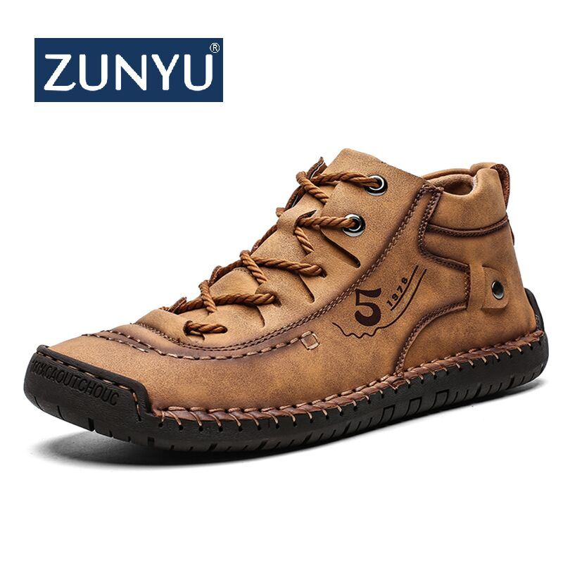 ZUNYU Leather Men Casual Shoes British Style Comfortable Men Fashion Walking Shoes Big Size Brown Black Man Soft Flat Footwear