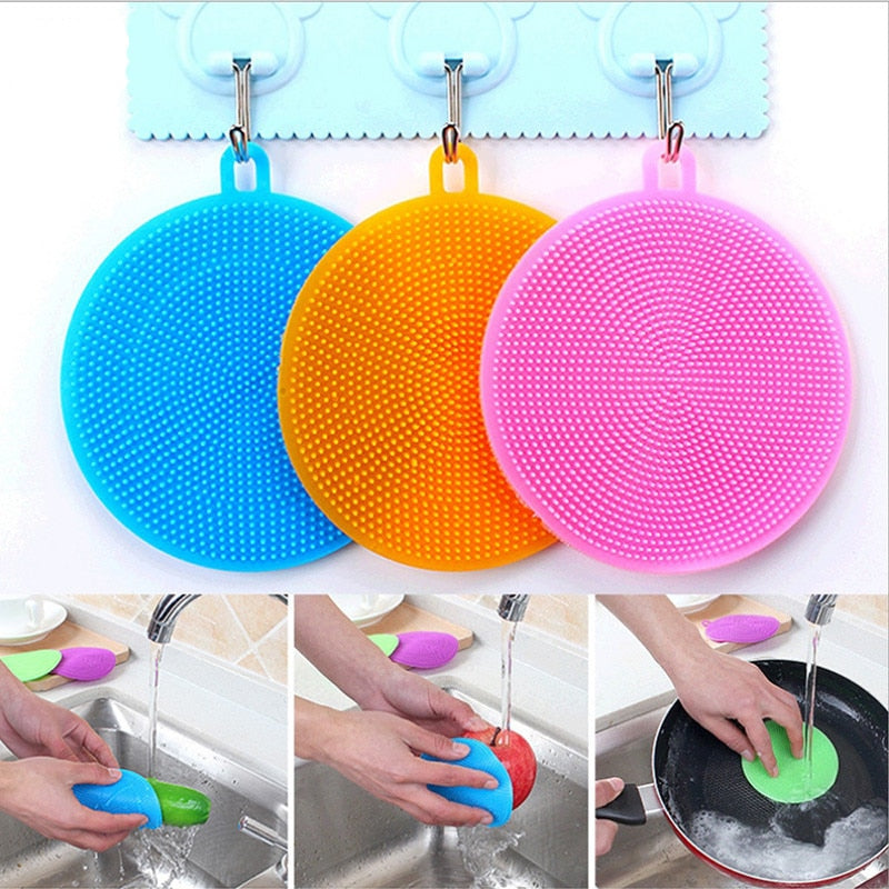 Multifunction Silicone Sponge Bowl Cleaning Brush Silicone Scouring Pad Silicone Dish Sponge Kitchen Pot Cleaner Washing Tool