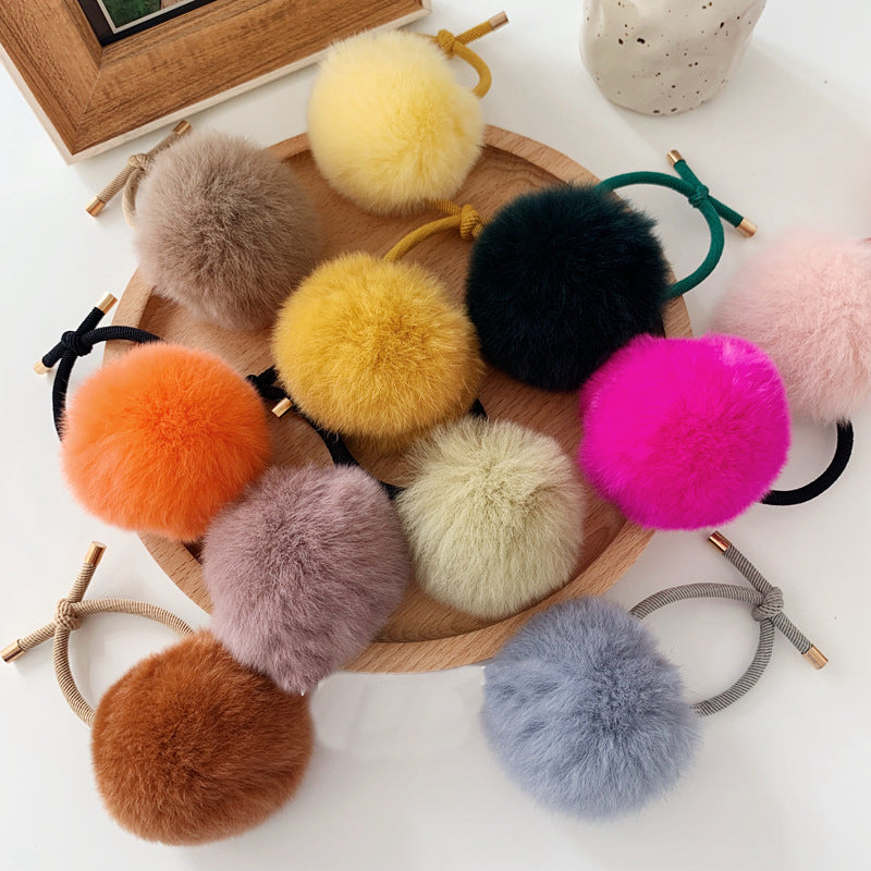 Cute Little girls Pompom Hair Ties Gum Bright Color Pom Pom  Elastic Hair Band Hair Ropes Rubber Bands Hair Accessories