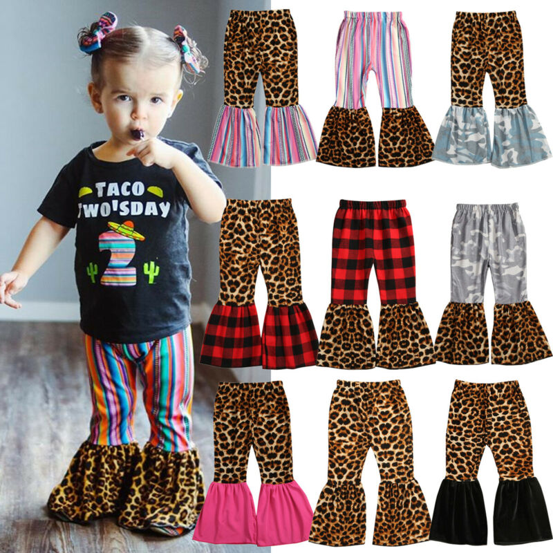 Toddler Kid Baby Girl Clothes Leopard Plaids Leggings Long Pants Trousers Outfit Cute Princess Bell Bottoms 1-6Year One Piece