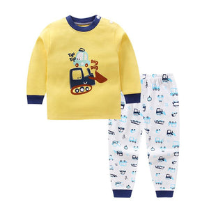 Children's Cotton Boys and Girls Baby Cotton Underwear Set Children's Autumn Clothes Long Pants Home Service Baby Clothes