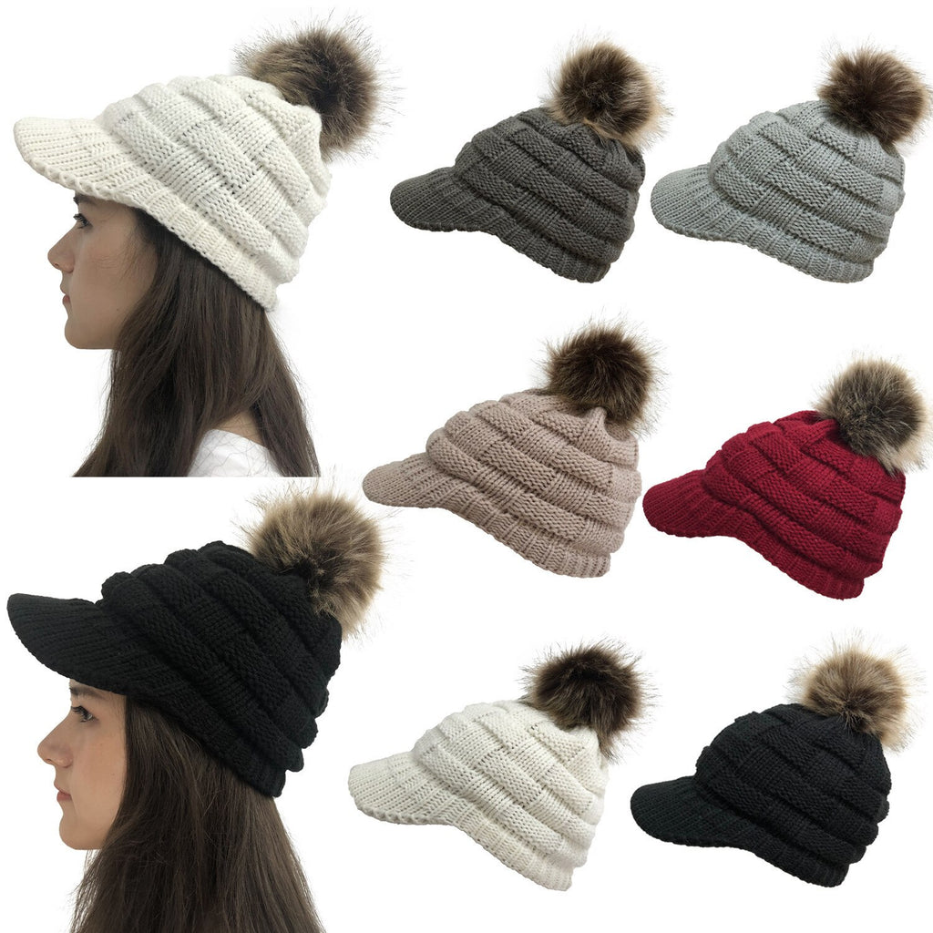 Newsboy Cable Knitted Hat with Ribbed Knit Visor Cold Weather Knitted Detachable Pom Pom Bobble Hat Beanie for Girls