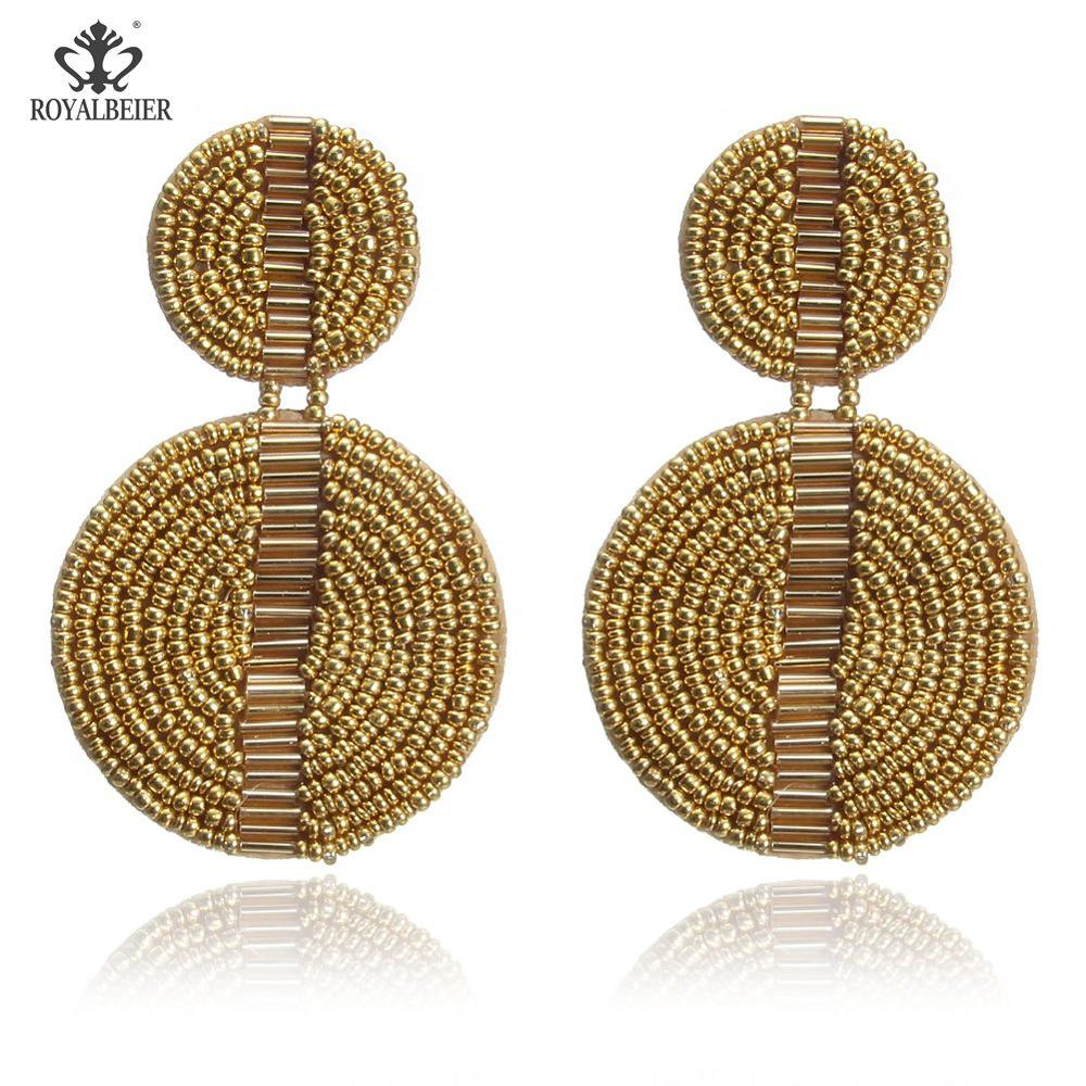 Geometric Round Brown Rice Beads Pendant Earrings Female Ladies Clothing Accessories for Prom Party Fashion Occasions