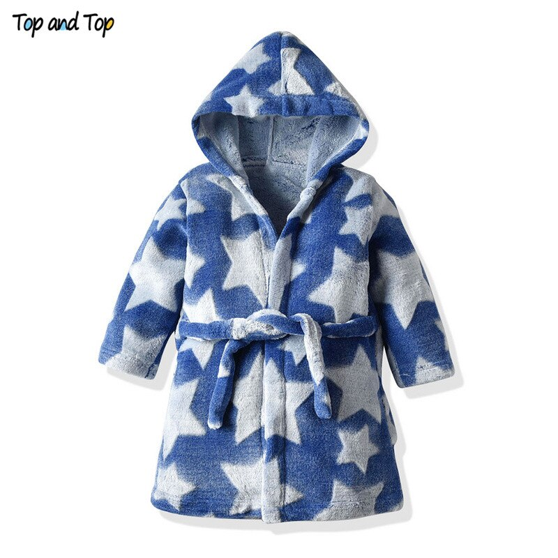Top and Top Fashion Cute Children Bathrobe Kids Flannel Robes Boys Girls Stars Printing Hooded Bath Robes Pajamas Sleepwear