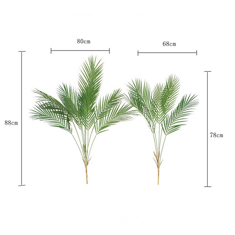 88 CM Green Artificial Palm Leaf Plastic Plants Garden Home Decorations Scutellaria Tropical Tree Fake Plants