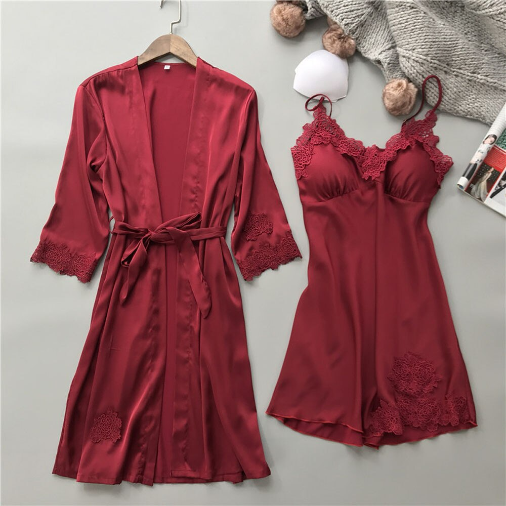 2020 Autumn Sleep Lounge Pajama Set Lingerie Women Silk Lace Robe Babydoll Nightdress Sleepwear Kimono Set With Chest Pad