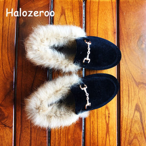 Winter New Kids Fur Shoes Baby Girls Princess Flats Children Warm Brand Shoes Toddler Slip On Black Loafer Fashion Soft Moccasin