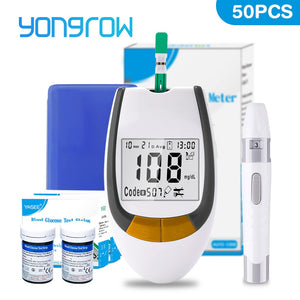 Yongrow meter 50pcs Test Strips Blood Glucose Meters Needles Lancets Sugar Monitor Collect Blood Glucometer mg/dl health care