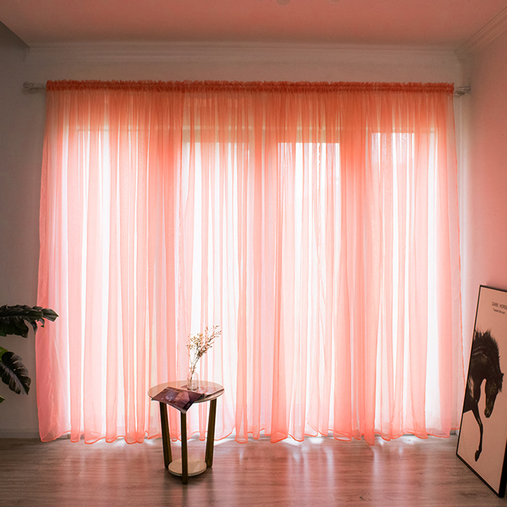 Modern Solid Color Sheer Curtain Window String Curtains Drape Panel Sheer Tulle For Bedroom Living Room Window Treatments