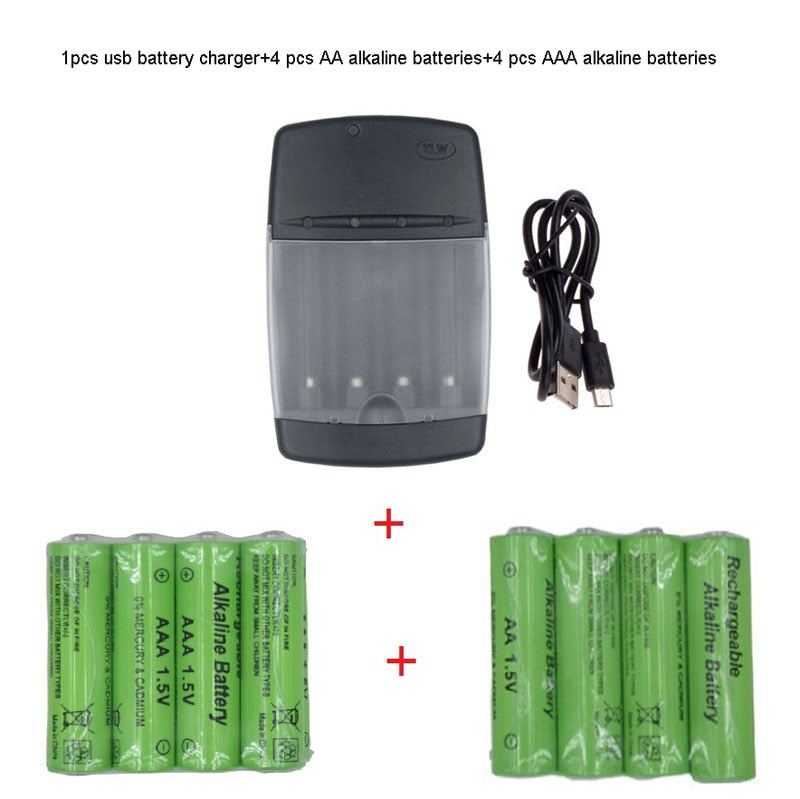 USB smart Battery Charger for LR03  AA LR6 AAA Alkaline 1.5V Rechargeable Battery with LED indicator intelligent charger