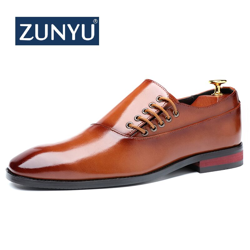 ZUNYU Fashion Business Dress Men Shoes New Classic Leather Men'S Suits Shoes Fashion Slip On Dress Shoes Men Oxfords Size 37-48