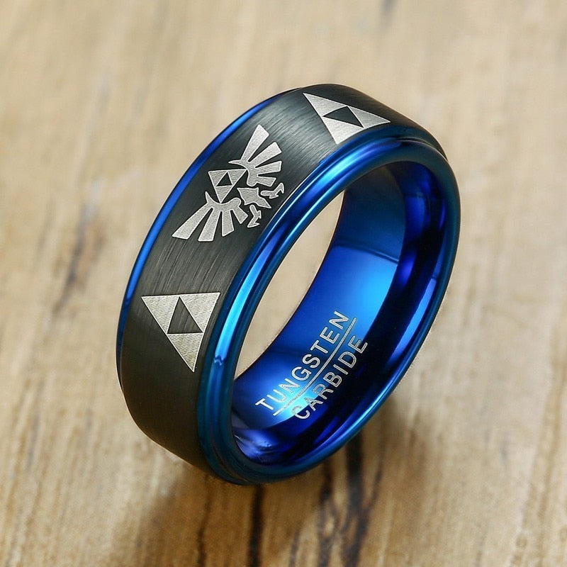 Legend Of Zelda Tungsten Dome Men's Ring Wedding Brands Engagement Male Boy Anillos Anel Accessories Triforce Jewelry