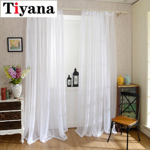 Europe Solid White Yarn Curtain Window Tulle Curtains For Living Room Kitchen Modern Window Treatments Voile Curtain P184Z40