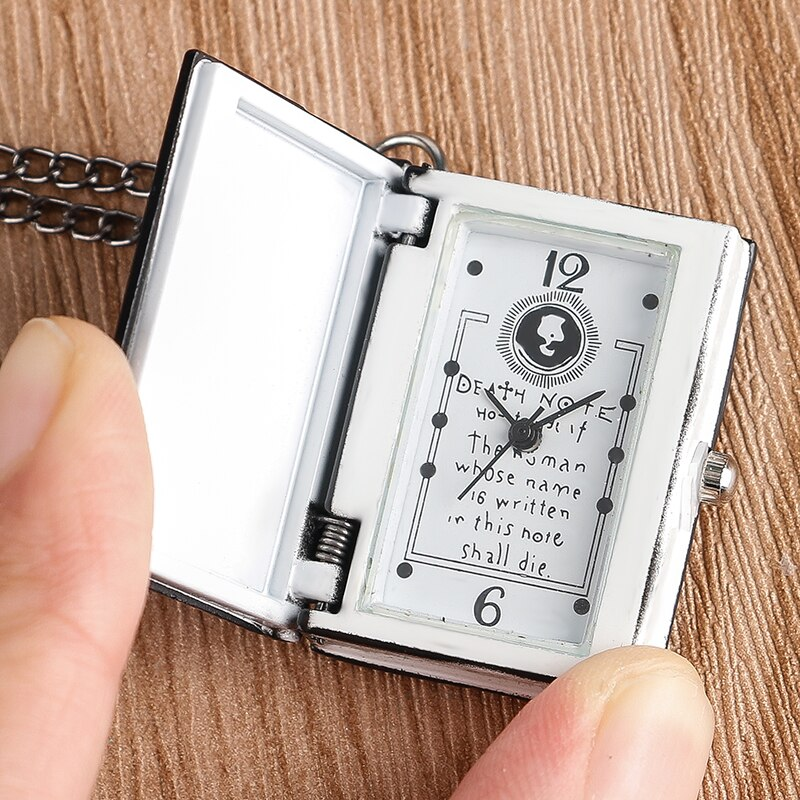 Death Note Book Shape Pocket Watch Chain Men Women Boys Cool Necklace Quartz Fashion Full Hunter Rectangle Japanese Anime Gift