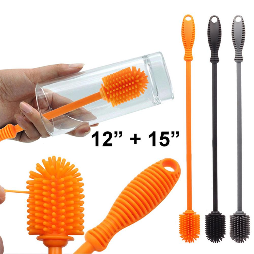Orange Peeling Multifunction Silicone Wheel Brush 360 Degree Rotation Long Handle Baby Infant Feeding Bottle Cleaning Brush
