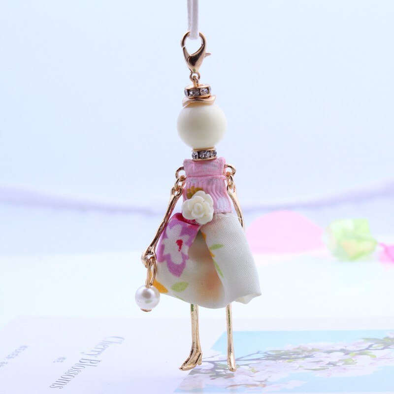 Fashion Lovely Imitation Pearls Sweet Girls' Doll Pendant Long Necklace Trendy Jewelry Accessories For Women Child