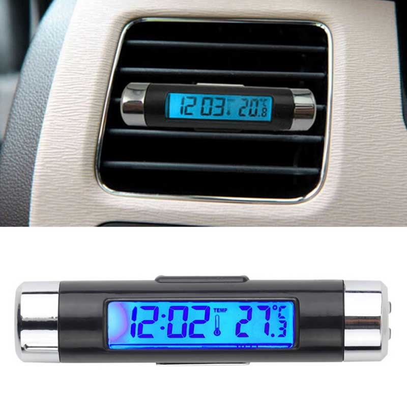 Portable 2 in 1 Car Digital LCD Clock & Temperature Display Electronic Clock Thermometer Car Automotive Blue Backlight With Clip