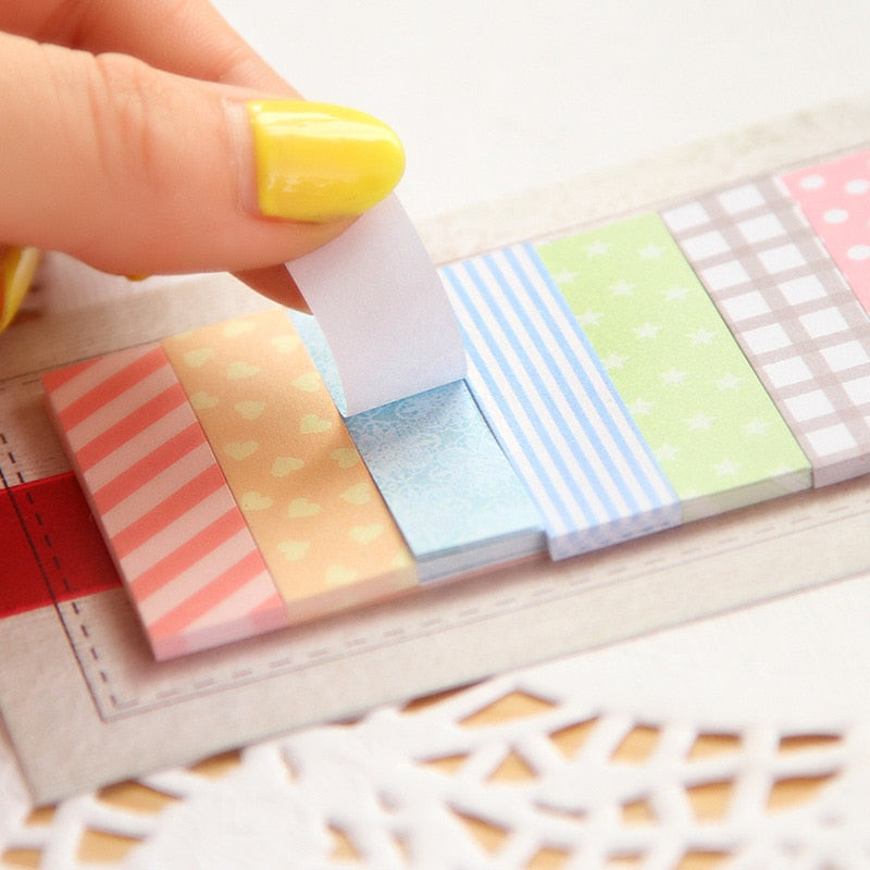 160 Pages Cute Kawaii Memo Pad Plaids and lines Note Sticky Paper Stationery Planner Stickers Notepads Office School Supplies