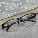 iboode Half Frame Reading Glasses Presbyopic Eyewear Male Female Far sight Glasses Ultra Light Black with strength +75 to +400