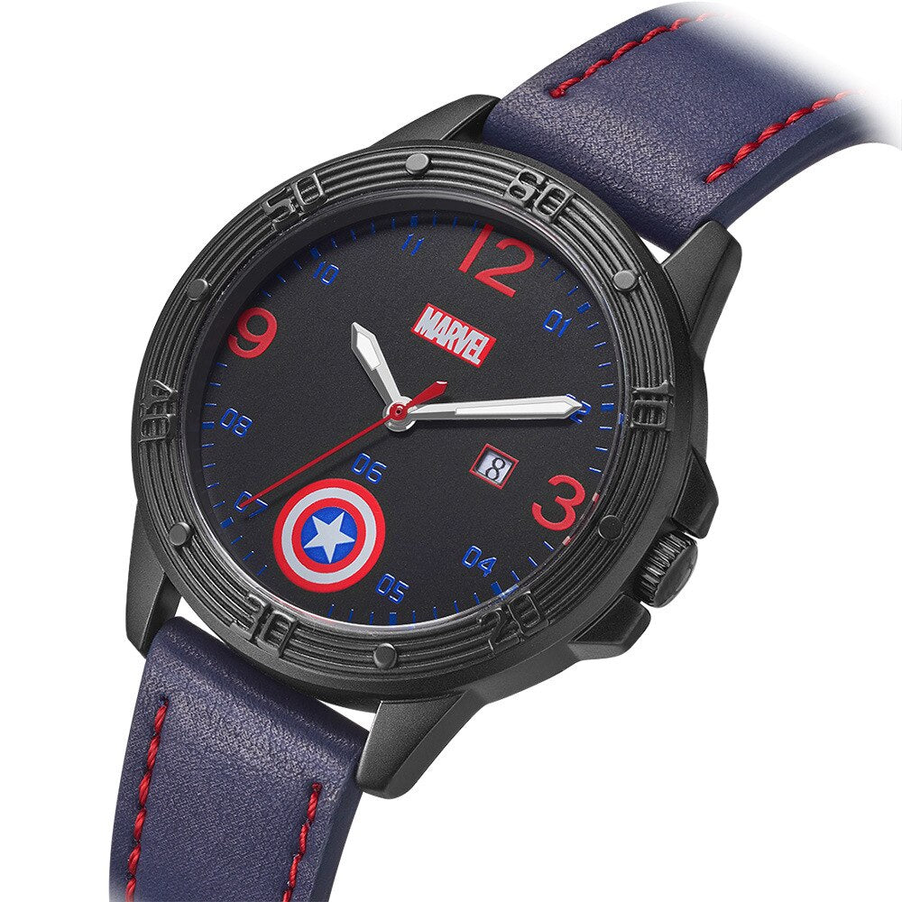 Marvel Children Quartz Wristwatches Child Watch America Captain Boy's Watches Kid Montre Auto Date Shield in Dial Wrist Watch