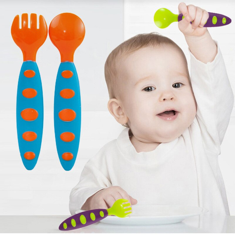 2pc Children Tableware Baby Spoon Fork Set Children Utensil Safety Tableware Infant Solid Feeding Flatware for Baby Feeding Bowl
