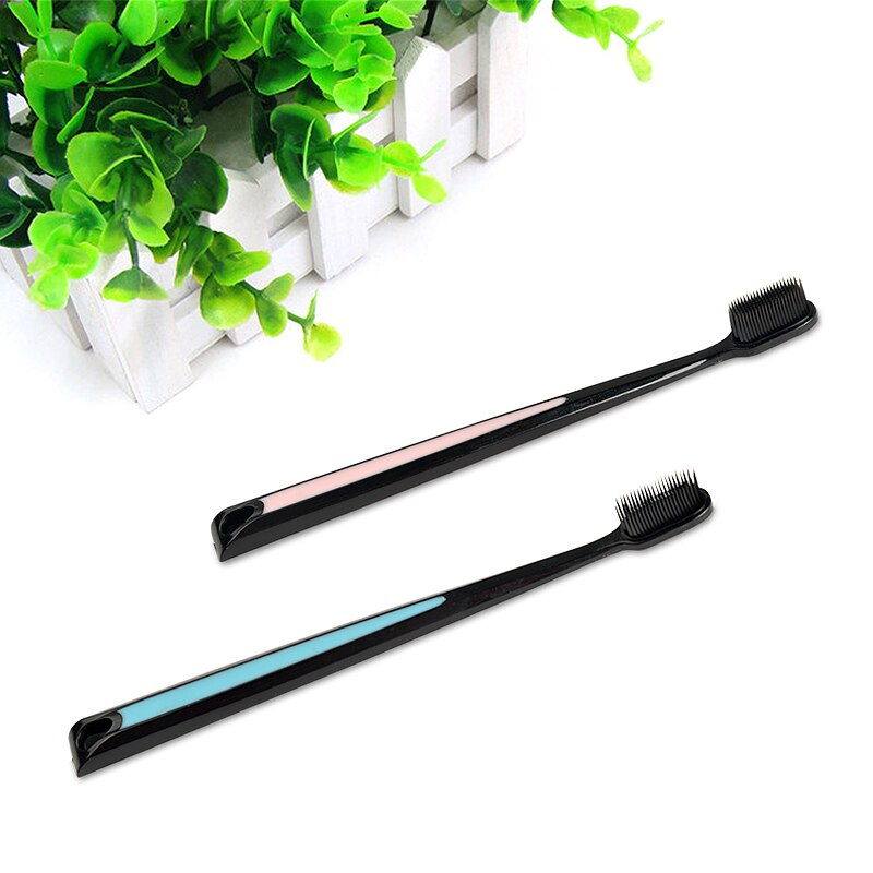 2Pcs Nano Bamboo Charcoal Toothbrush Double Ultra Soft Tooth Brush Tongue Cleaner Black Heads Nano-antibacterial Toothbrush
