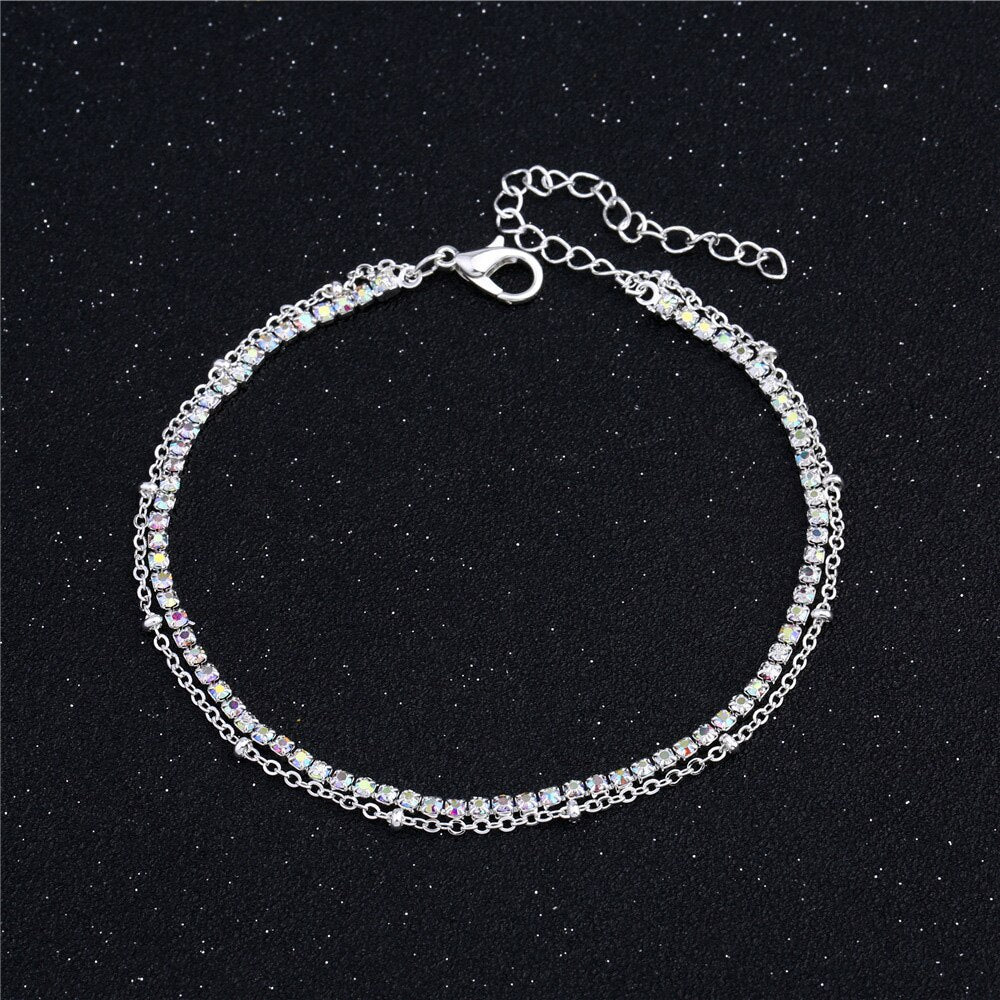 Lovely Girl AB Crystal Ankle Bracelet Silver Color Link Chain Anklet Sexy Barefoot Jewelry Women Foot Bracelet Friendship Gift