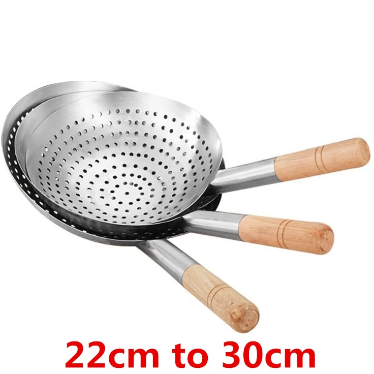 Large Big Thick Stainless Steel Mesh Strainer Colander wok wooden Handle Cookware Oil Flour Sifter Colander Kitchen Cooking wok