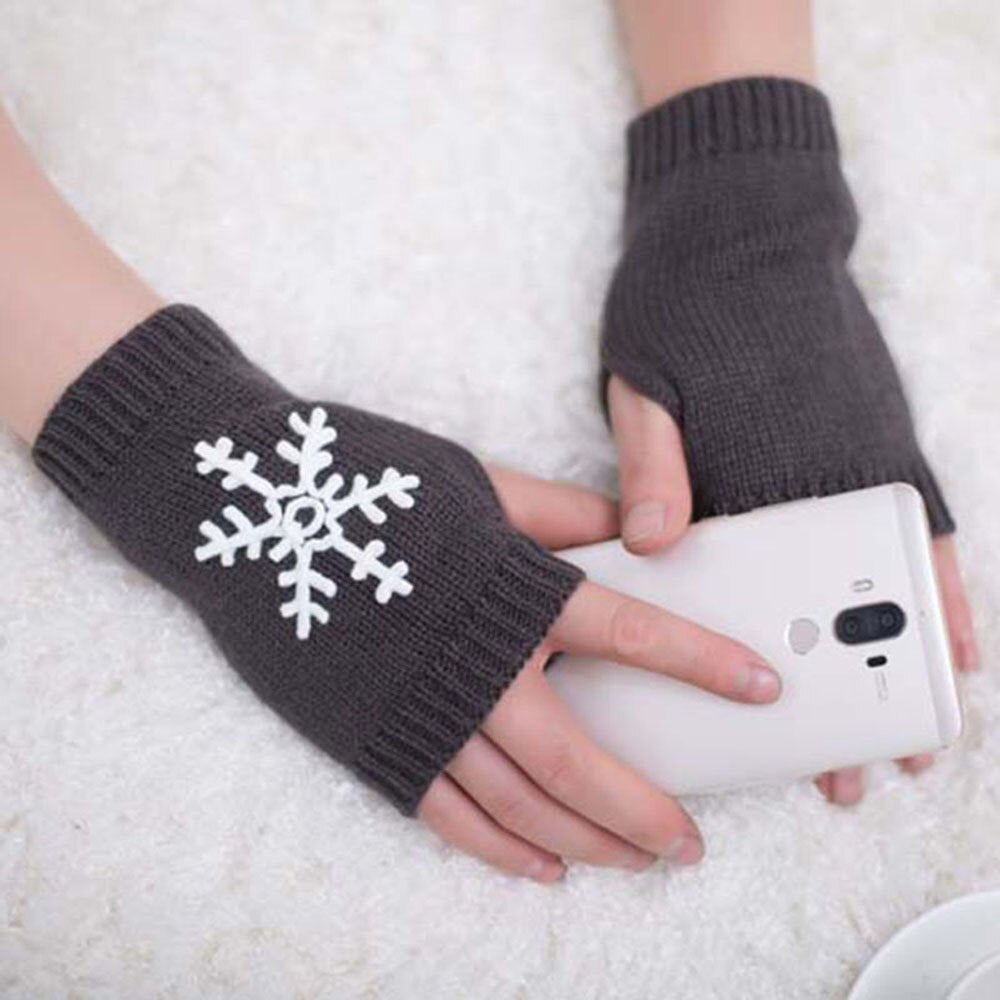 Fashion Cold-weather Wool Snowflake pattern Gloves Girl Women Soft Warm Winter Gloves Mitten Fingerless Knitted Gloves