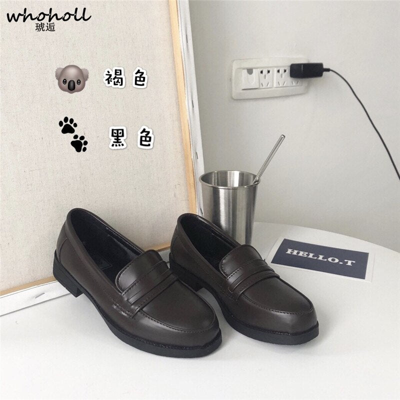 Women Leather Shoes Japanese Academy Girl Middle School Student Brown Black Shoe Animation Maid Use Lolita JK Uniform Shoes