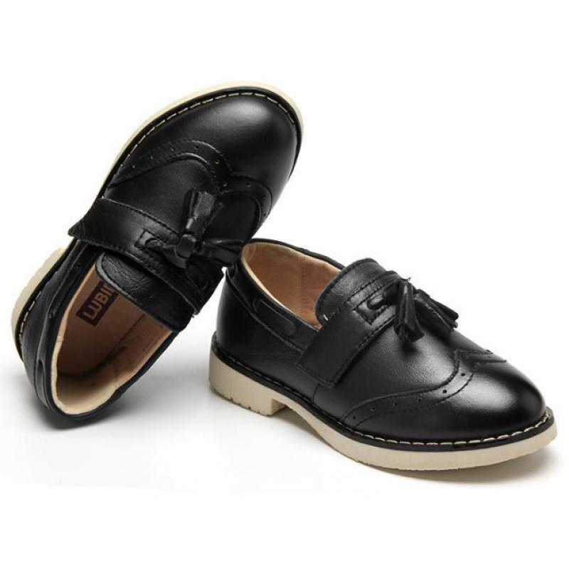 Children Leather Shoes for Boys Genuine Leather Dress Shoes Kids Low-heel Oxford Wedding Shoes Black Rubber Sole Pigskin Inside