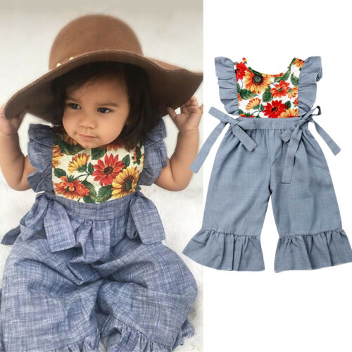 Emmababy Baby Girl Summer Overalls Toddler Kids Baby Girls Strap Rompers Jumpsuit Harem Pants Trousers Sunflower
