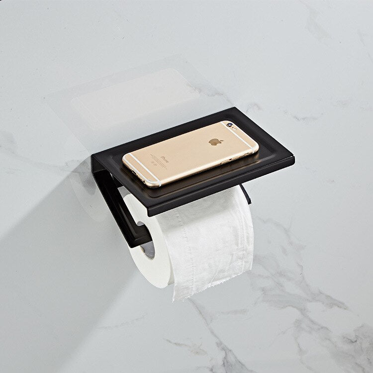 Bathroom Hardware Set  White Paper Mobile Phone Holder Space Aluminum Antique Roll Holder with Shelf Toilet Paper Box Wall Mount