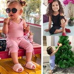 2-6 Years Baby Girls Overalls Sleeveless Sling Girls Bodysuits Solid Pink Black Blue Baby Rompers Cropped Pants Toddler Playsuit