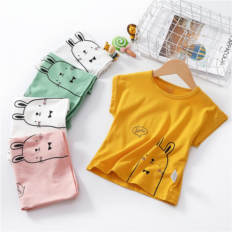 Kids T Shirt Summer Baby Boy Girl Cotton Tees Short Sleeve Casual Wear Toddler Tops Clothes Children Clothing Rabbit T-shirts